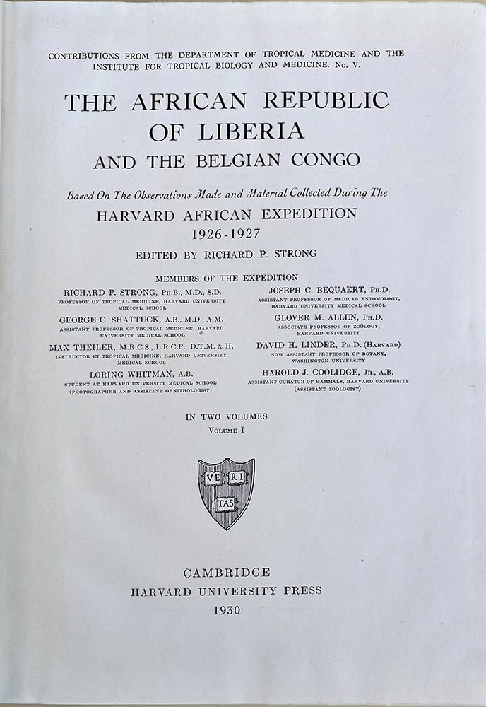 The African republic of Liberia and the Belgian Congo. Presentation copy. Richard P. Strong.