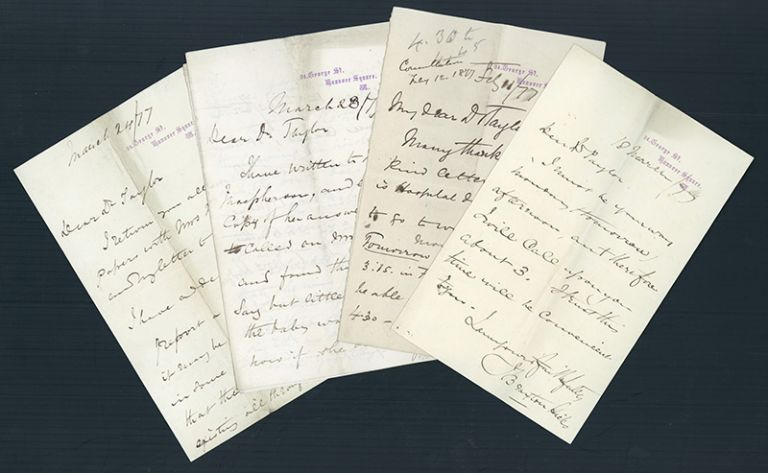4 Autograph letters signed to Taylor. John Braxton Hicks, Alfred Swaine Taylor.