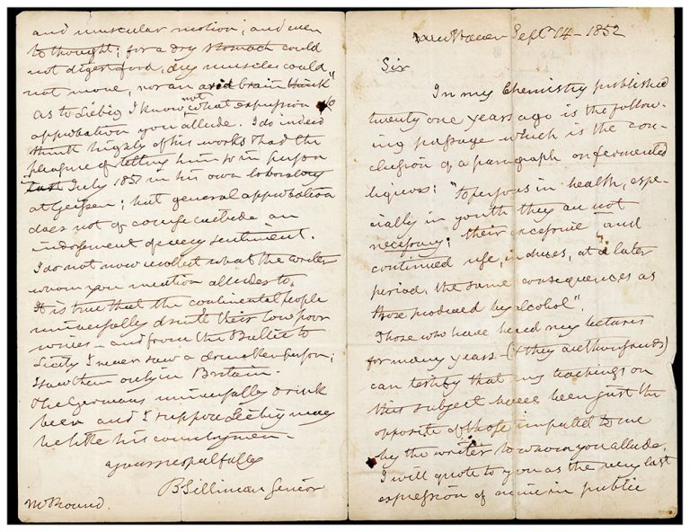 Autograph letter signed to N. O. Round. Benjamin Silliman.