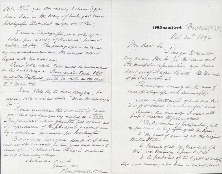 Autograph letter signed re micrography. In folding case. Oliver Wendell Holmes.