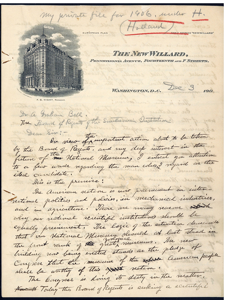 Autograph draft of letter to Alexander Graham Bell. William T. Hornaday.