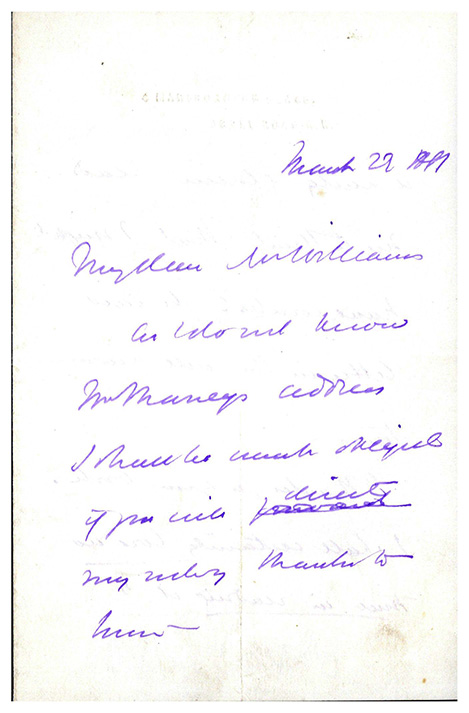 Autograph letter signed to Mr. Williams. Thomas H. Huxley.