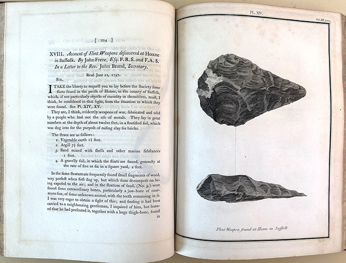 Account of flint weapons discovered at Hoxne in Suffolk. In Archaeologia 13, pp. 204-5. John Frere.