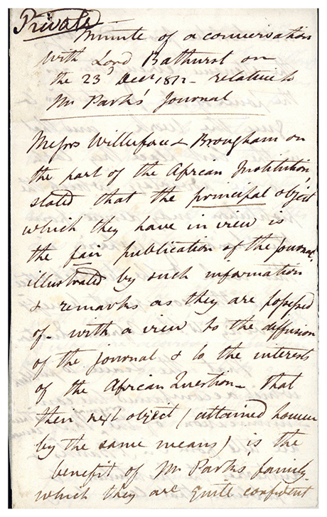Minute of a conversation with Lord Bathurst . . . relative to Mr Park's Journal. Document in an unidentified hand. Mungo Park.