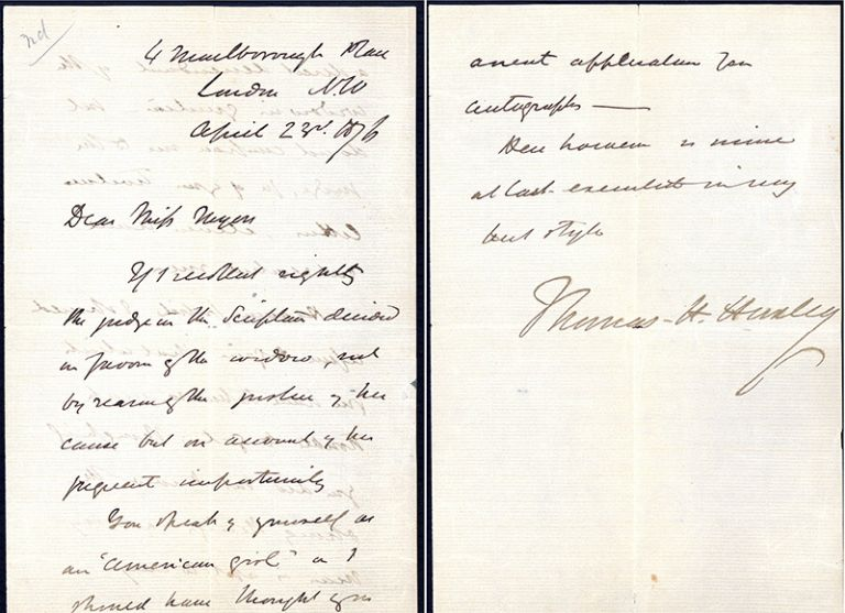Autograph letter signed to an American autograph seeker. Thomas Henry Huxley.