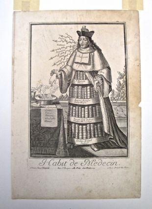 Habit du medecin. Caricature, no. 12 in series. C. 1750. 36.5x24cm. Habit du medecin.