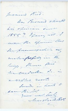 4 autograph letters to Dr. Harley on scientific subjects.