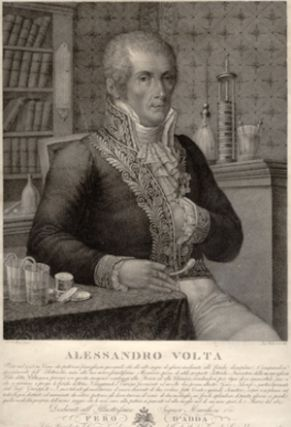 Alessandro Volta. Engraved portrait By Rados after Focosi. Alessandro Volta