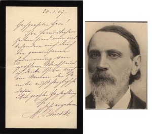 Autograph letter signed on mourning stationery. Moritz Benedikt