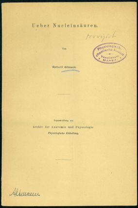 Ueber Nucleinsäuren. Offprint with 2 others, Miescher's Copies