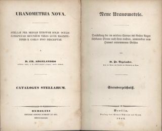 Uranometria nova . . . Neue Uranometrie. Text vol. (star catalogue) only. Fr Argelander