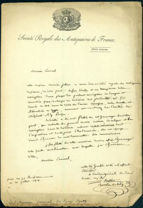 Autograph letter signed to Sir Sidney Smith, with enclosed ms. description of an old Egyptian...
