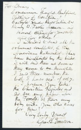Autograph letter signed to Edward Emerson Bourne