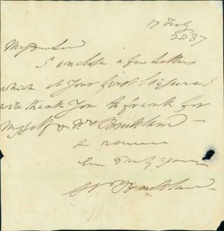 Autograph note signed to Viscount Cole, February 17, 1837