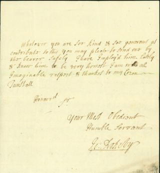 "Autograph letter signed to ""my cozen Tunstall,"" most likely Bishop Cuthbert Tunstall. John Rokeby"