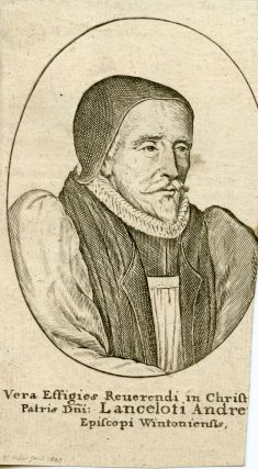 Engraved Portrait by Hollar, 1643. Lancelot Andrewes, Bishop of Winchester