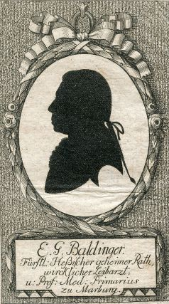 Engraved Portrait in silhouette by Stahl. E. G. Baldinger