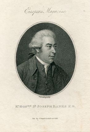 Engraved Portrait by Ridley. European Magazine. Joseph Banks