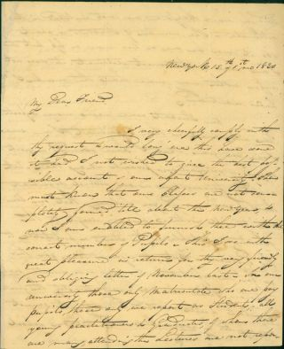 Autograph letter signed to R. Harlan. Valentine Mott