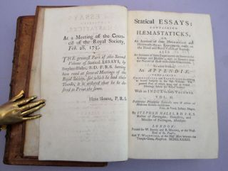 Vegetable staticks and Statical Essays Containing Haemastaticks