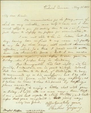 Autograph letter signed to Charles Hutton