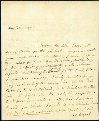 Autograph letter signed to Maj. James Rennell