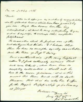 Autograph letter signed to James Smith