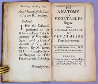 The anatomy of vegetables begun. HFN copy. Nehemiah Grew