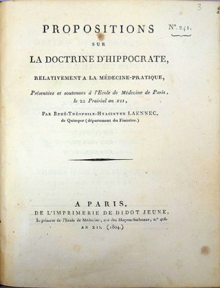 Propositions sur la doctrine d'Hippocrate, relativement a la médecine-pratique....