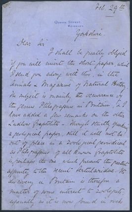 Autograph letter signed to William Francis. Henry A. Nicholson.