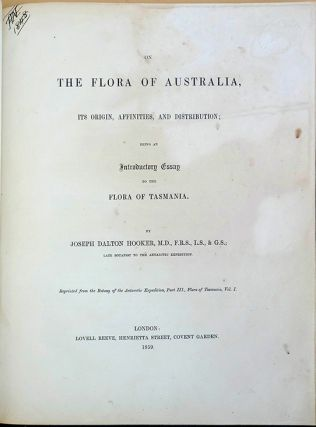 On the flora of Australia. Joseph Dalton Hooker.
