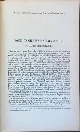 Notes on Chinese materia medica. Daniel Hanbury.