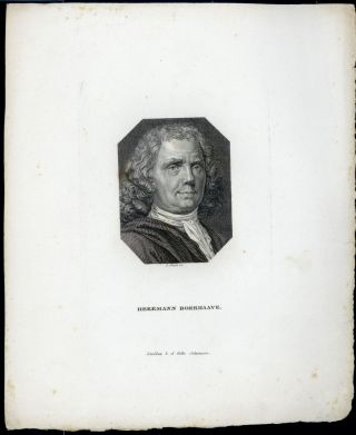 Hermann Boerhaave. Engraved portrait by I. Staub. Herman Boerhaave.