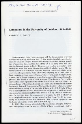 Computers in the University of London, 1945-1962. Andrew D. Booth