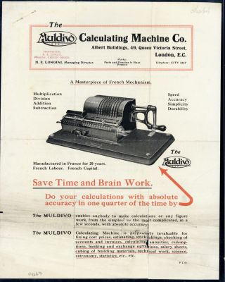 A masterpiece of French mechanism. Muldivo Calculating Machine Company