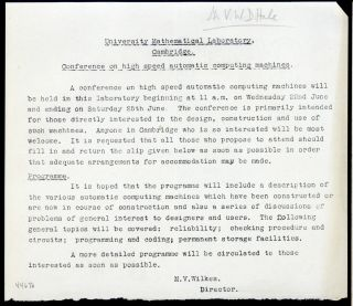 Conference on high speed automatic computing machines. Maurice V. Wilkes, Cambridge University...