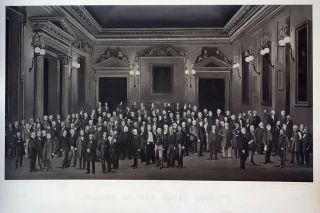 Fellows of the Royal Society. Autotype (carbon-process) composite photographic print by Herbert...