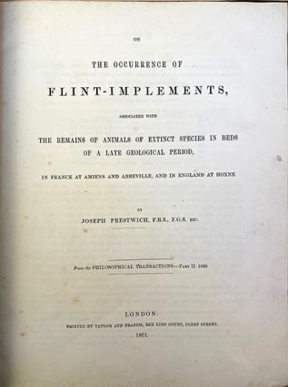 On the occurrence of flint implements associated with the remains of animals of extinct species...