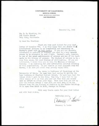 Typed letter signed to B. Richard Stuehler. Chauncey D. Leake