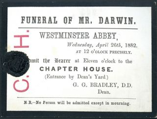 Funeral of Mr. Darwin (funeral card). Charles Darwin