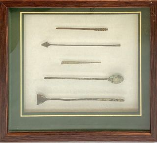 Roman surgical instruments (framed; set of 5). Roman surgical instruments