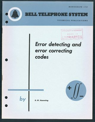 Error detecting and error correcting codes. Offprint. R. W. Hamming