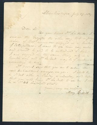 Autograph letter signed to Dr. John Francis. Mary Griffith