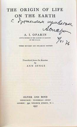 Collection of 11 books by Oparin, together with the festschrift issued in honor of Oparin's 80th birthday. From the library of Melvin Calvin