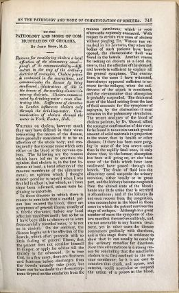 On the pathology and mode of communicaiton of cholera. In London Med. Gazette vol. 9. John Snow