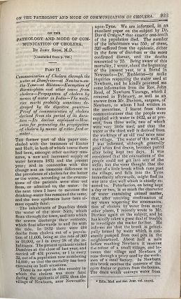 On the pathology and mode of communicaiton of cholera. In London Med. Gazette vol. 9