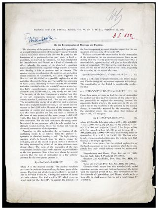 On the recombination of electrons and protons. Offprint from Gerlach's library. Enrico Fermi,...