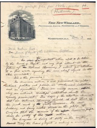 Autograph draft of letter to Alexander Graham Bell. William T. Hornaday