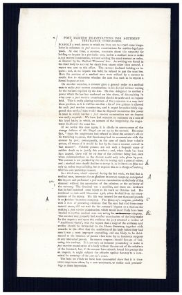 Post mortem examinations for accident insurance companies [and] Found drowned. Galley proof, with...