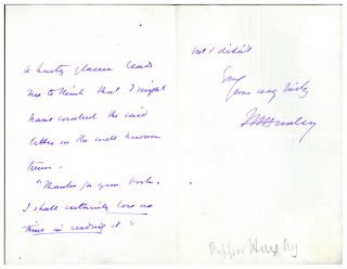 Autograph letter signed to Mr. Williams